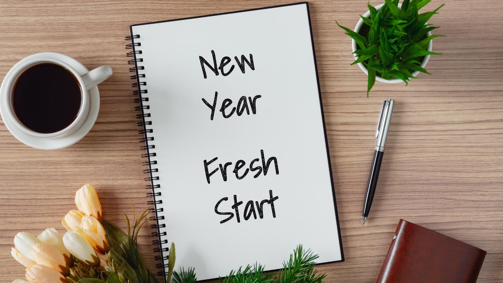 Photo of a journal saying new year, fresh start